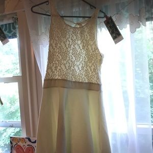 Cream colored dress with lace top